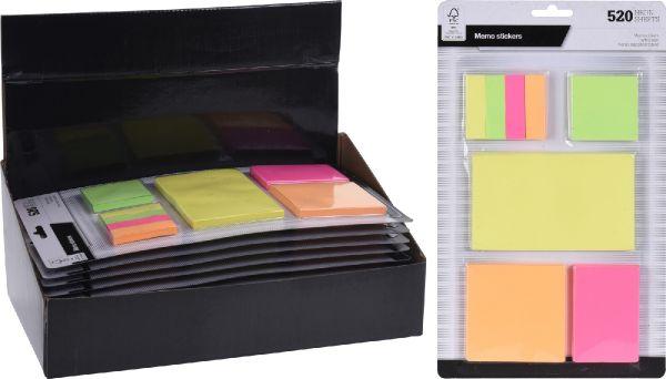 Fogli Memo Adesivi Colorati 520 Pezzi
