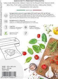 50 Sacchetti per Macchina Sottovuoto  Alimentare 30x40 cm